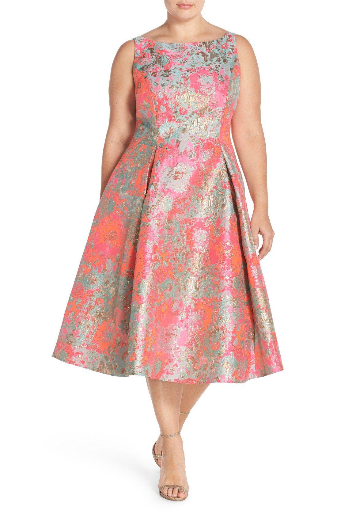 bd82de8213c Adrianna Papell Metallic Jacquard Fit   Flare Midi Dress (Plus Size ...