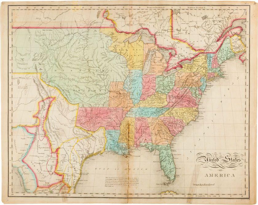 Benjamin Tanner United States Of America Philadelphia M - 1823 us map