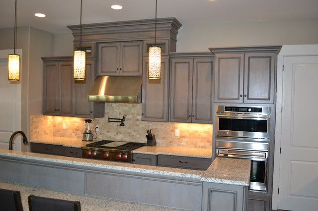 ... Gray Stained Cabinets With Black Glaze Traditional Kitchen Painting Stained Kitchen Cabinets White: ...