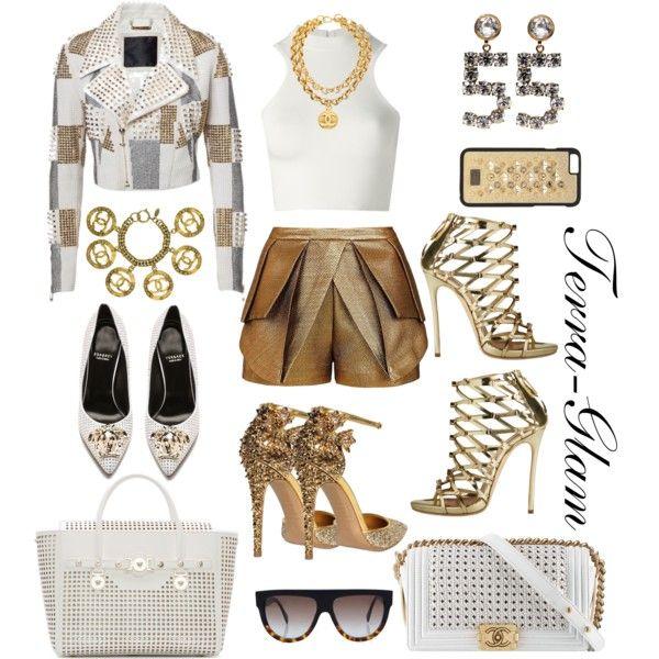 Memorial Wkd White/Gold Affair by terra-glam on Polyvore featuring polyvore fashion style Versace Philipp Plein sass & bide Dsquared2 Chanel Dolce&Gabbana CÉLINE