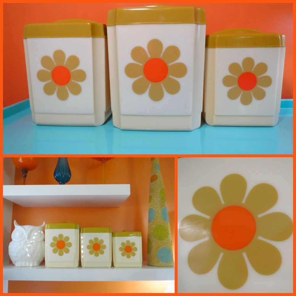 Retro Kitchen Canisters Details About Vtg 1970s Mid Century Flower Power Retro Orange