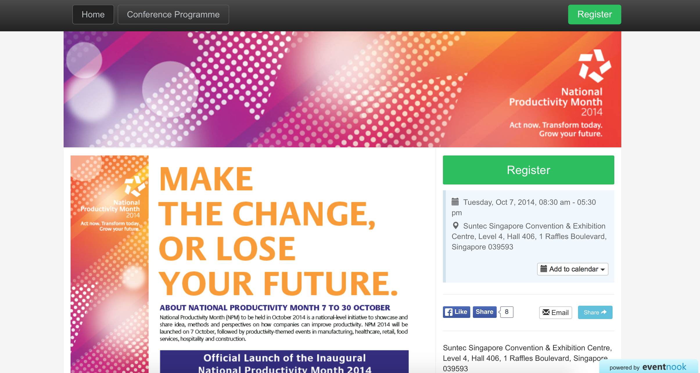 EventNook event registration site - Singapore National Productivity Month 2014