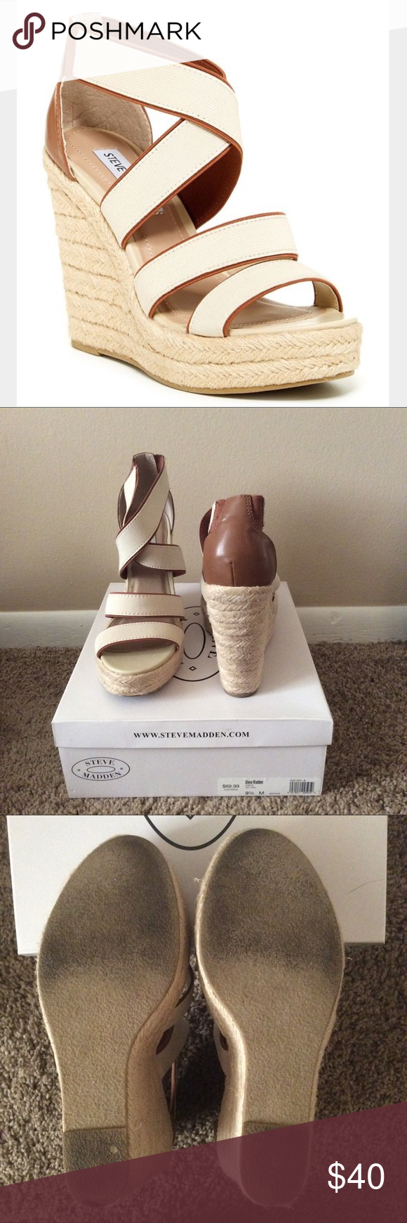 Steve Madden wedges Worn only a couple times, these wedges are the perfect shoes to dress up any casual outfit on a summer day. The wedges are comfortable and easy to walk in. They go with practically anything. Please ask any questions before purchasing. I usually wear a size 10, but these fit great. Steve Madden Shoes Wedges