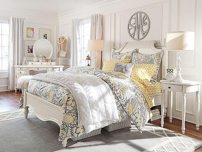 cool yellow gray bedroom | White Yellow Gray :: Paisley Bedroom :: PB | Bedrooms ...