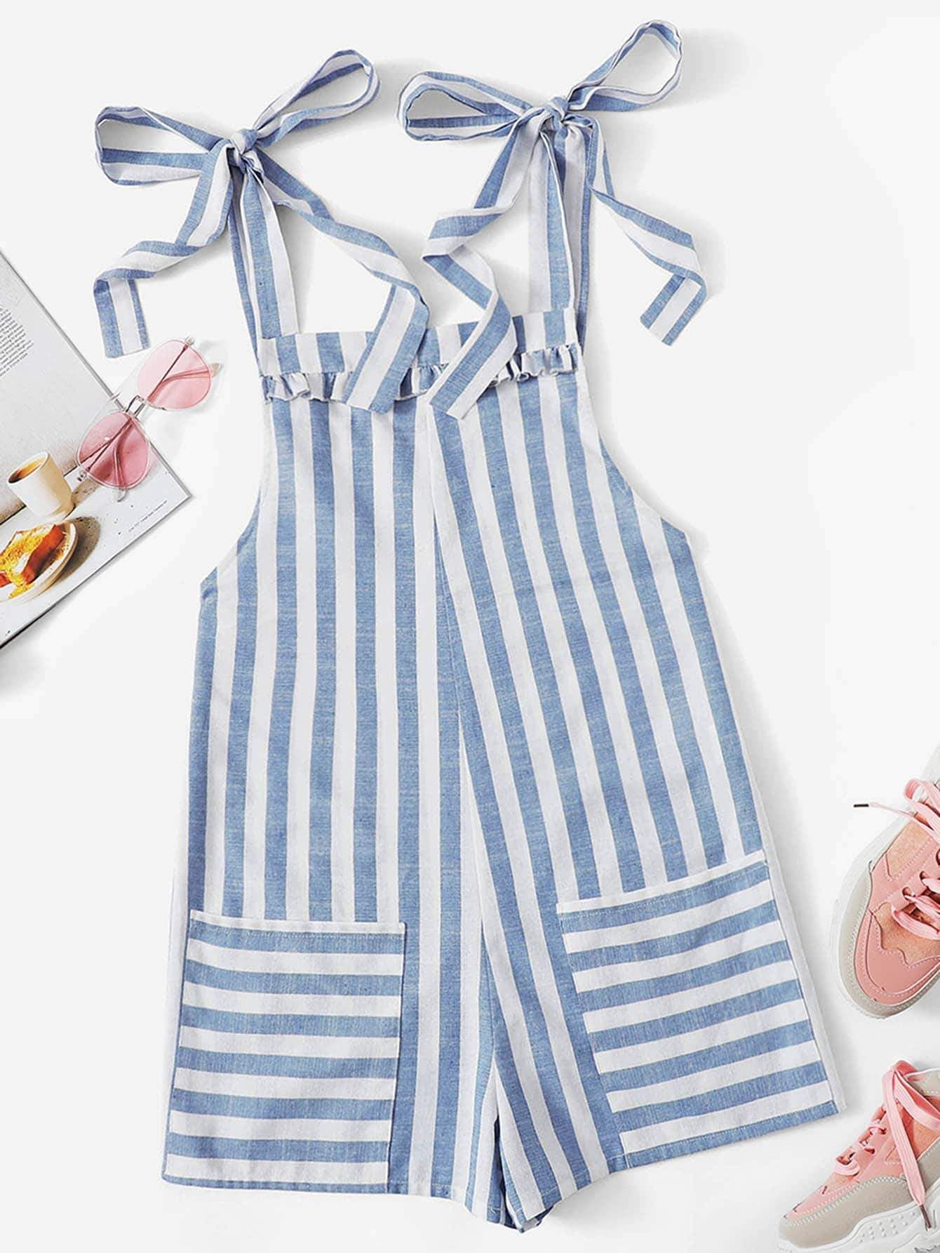 f6baccc2b8 Ruffle Trim Knot Strap Striped Jumpsuit - Popviva #summer #year #fall  #spring #season #winter #daylight #summertime #vacations #holiday #autumn  #estate ...