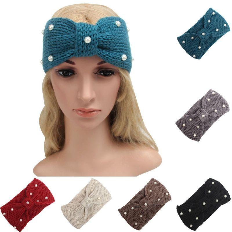 cd959d72b9c Solid crochet knitting pearl headbands winter women bohemia cross headbands  handmade hairbands bandeau cheveux  010  women  polyester  adult  fashion  ...