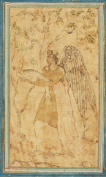 An angel holding a fish, inspired by the Biblical story of Tobias and the Angel, India, Mughal, circa 1590-1600