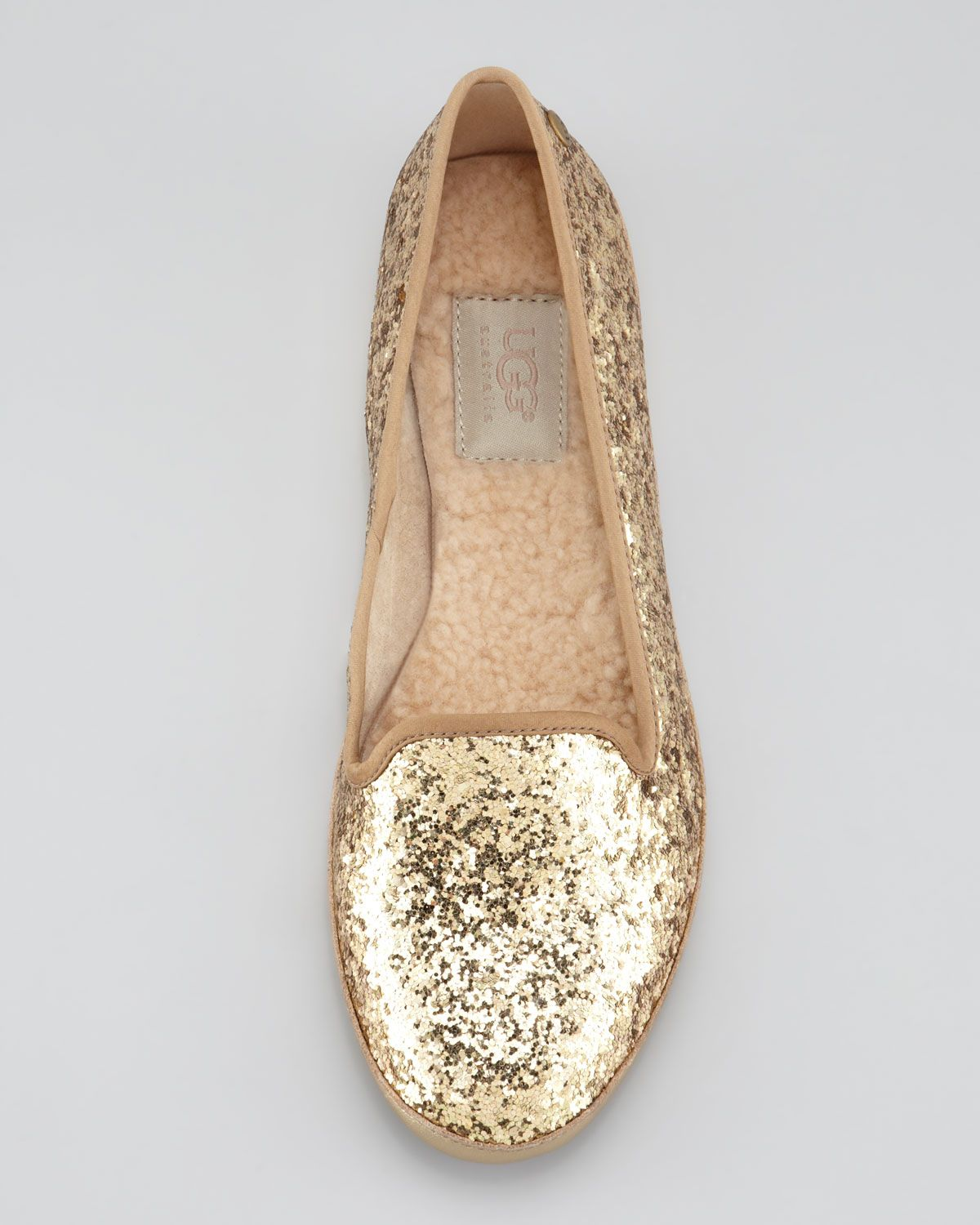 Lined Glitter Loafer, Champagne   Shoes