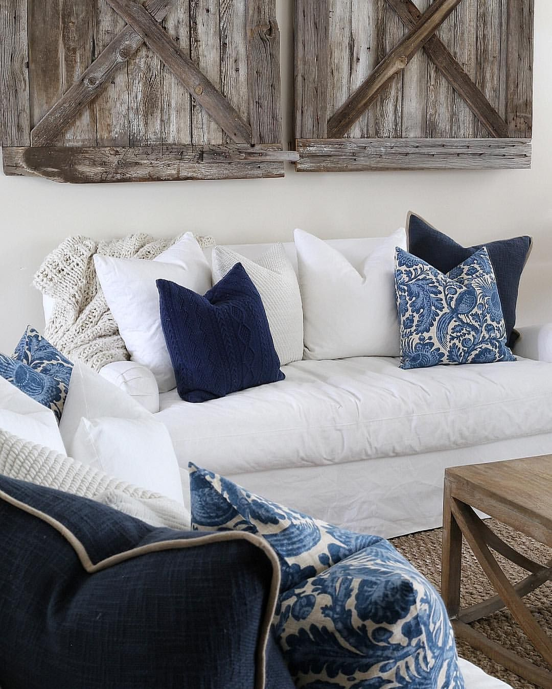 Blue white wood decor farmhouse white couch Blue