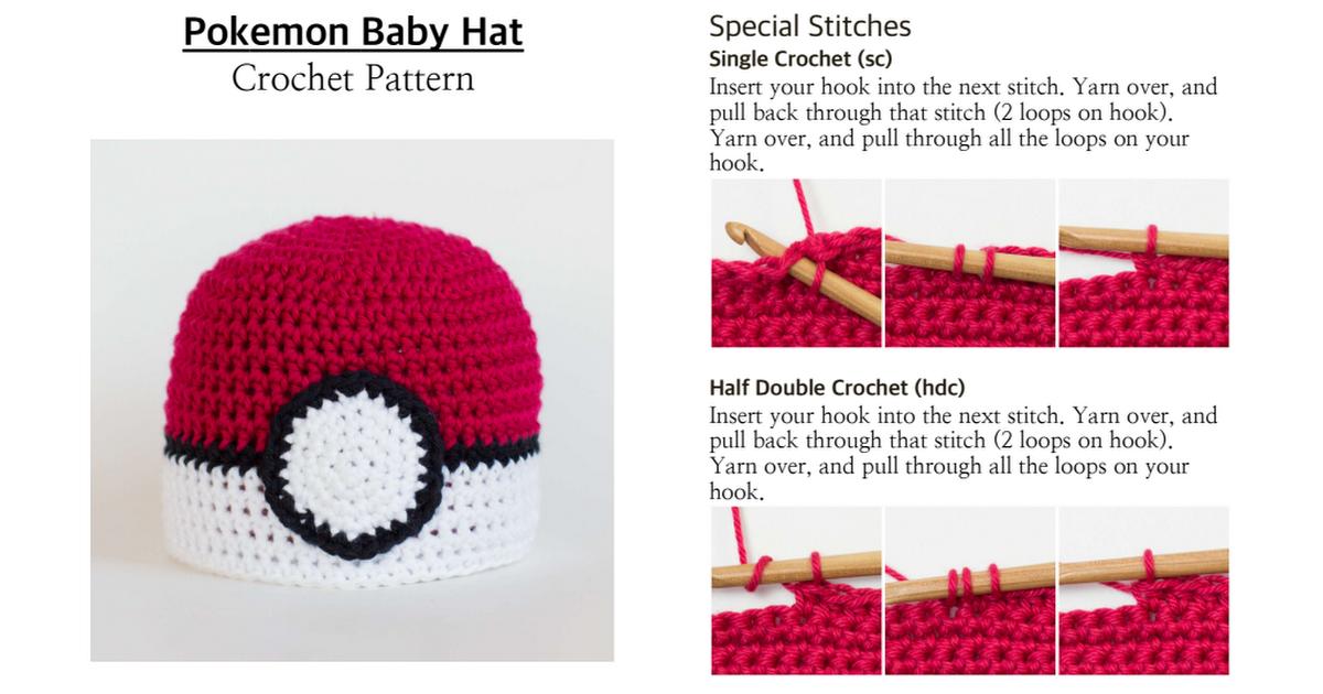 Pokemon Baby Hat Crochet Pattern.pdf | Crochet | Pinterest