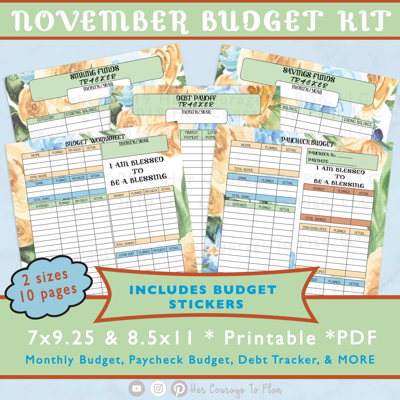 November Budget Kit Printable Monthly Financial Planner