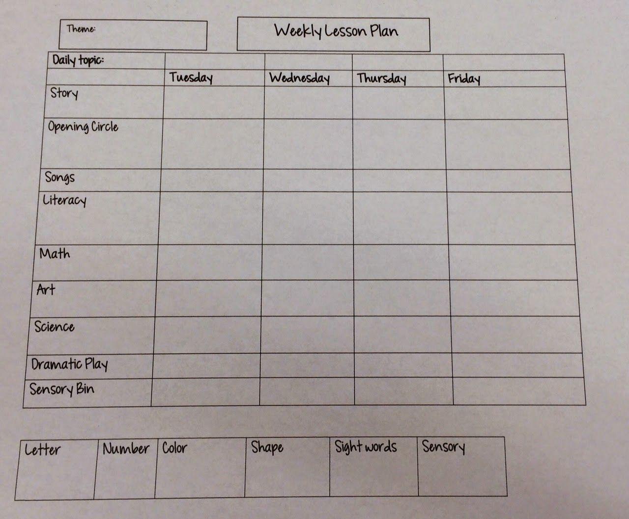 Miss Nicoles Preschool Weekly Lesson Plan Template Preschool - Early childhood education lesson plan template