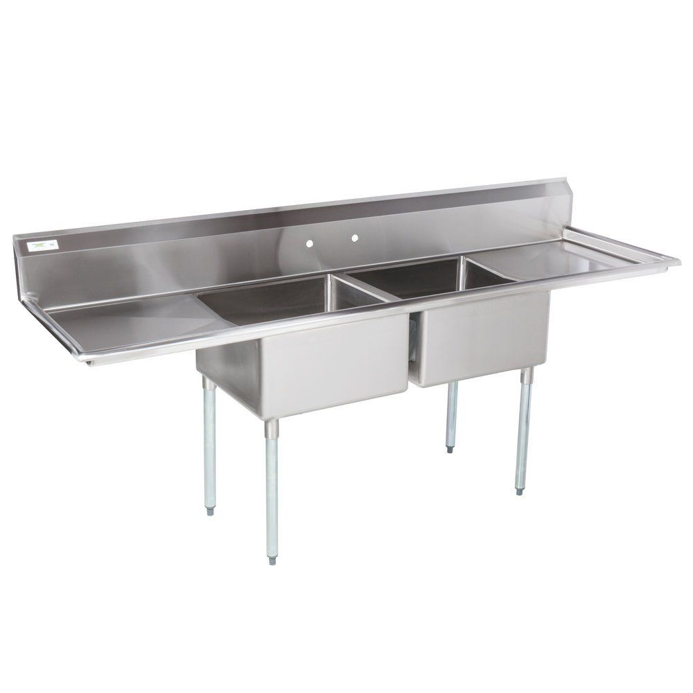 Regency 96 16 Gauge Stainless Steel Two Compartment Sink With Galvanized Steel Legs And 2 Drainboards 23 X 23 X 12 Bowls In 2020 Stainless Sink Stainless Steel Legs Sink