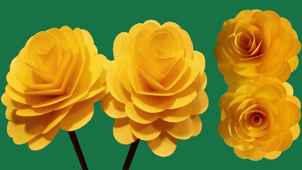 How To Make Beautiful Yellow Rose With Colour Paper Diy Paper
