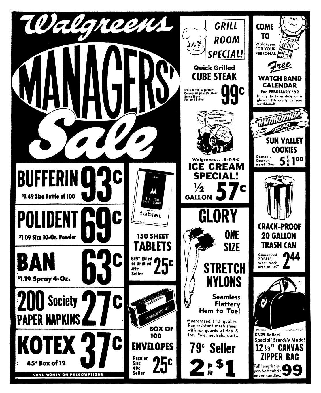 Walgreens Managers Sale - January 1969 | 1960\'s Newspaper Vintage ...