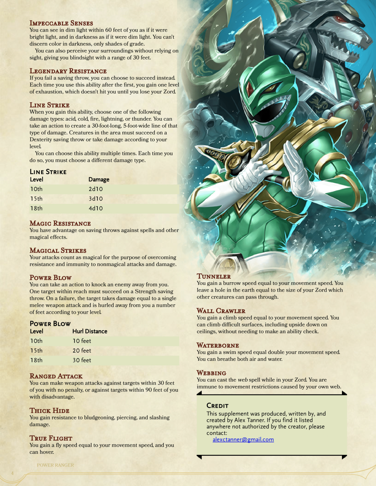 DnD 5e Homebrew — Power Ranger Fighter by McToomin27 | Game