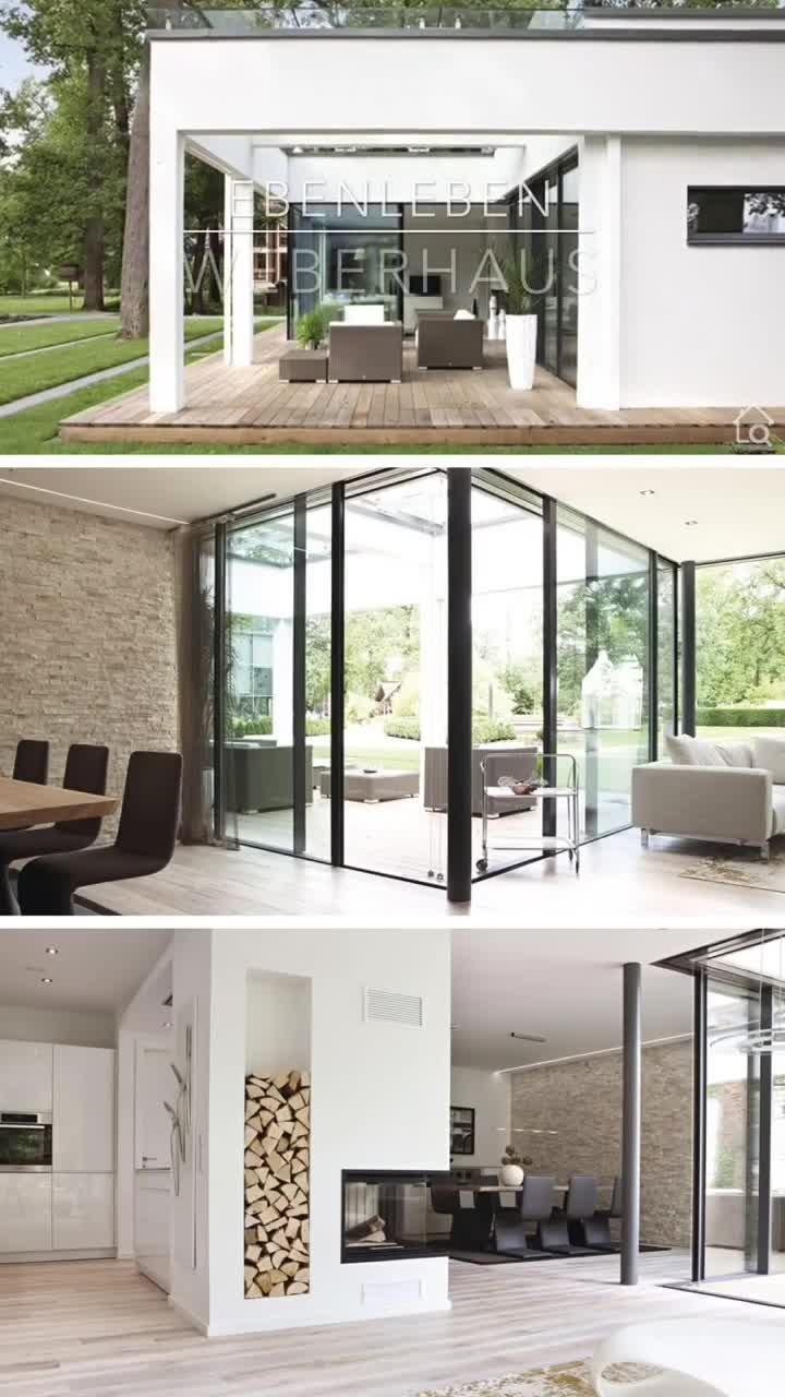 Moderner Fertighaus Bungalow mit Flachdach Design im Bauhausstil bauen Haus Grundriss mit Kamin