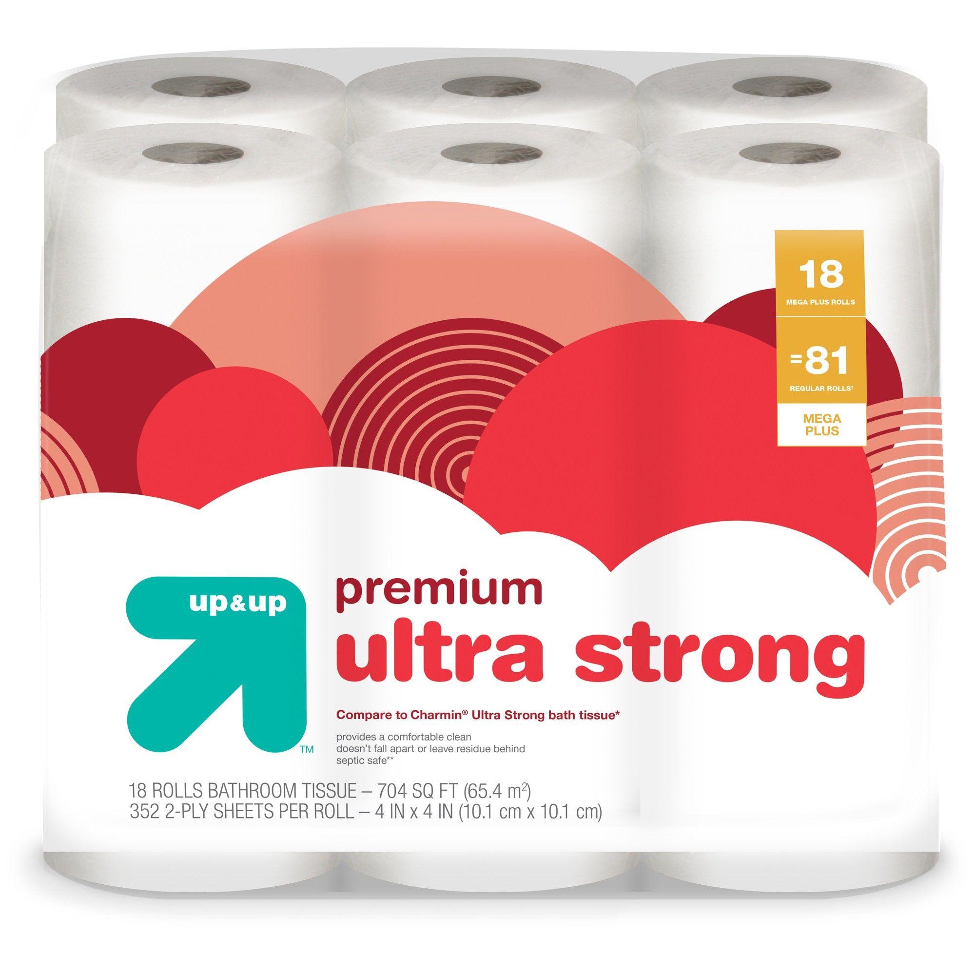 Premium Ultra Strong Toilet Paper 18 Mega Plus Rolls Compare To