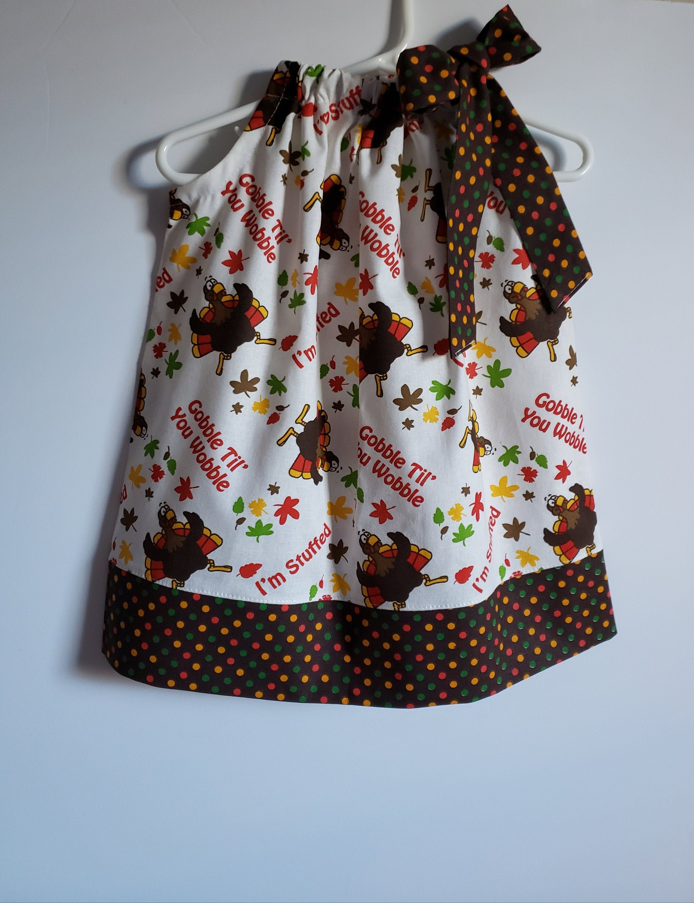 18m Thanksgiving Dress | Pillowcase Dress with Turkeys | size 18 months | Turkey Dress | Thanksgiving Outfit | Ready to ship