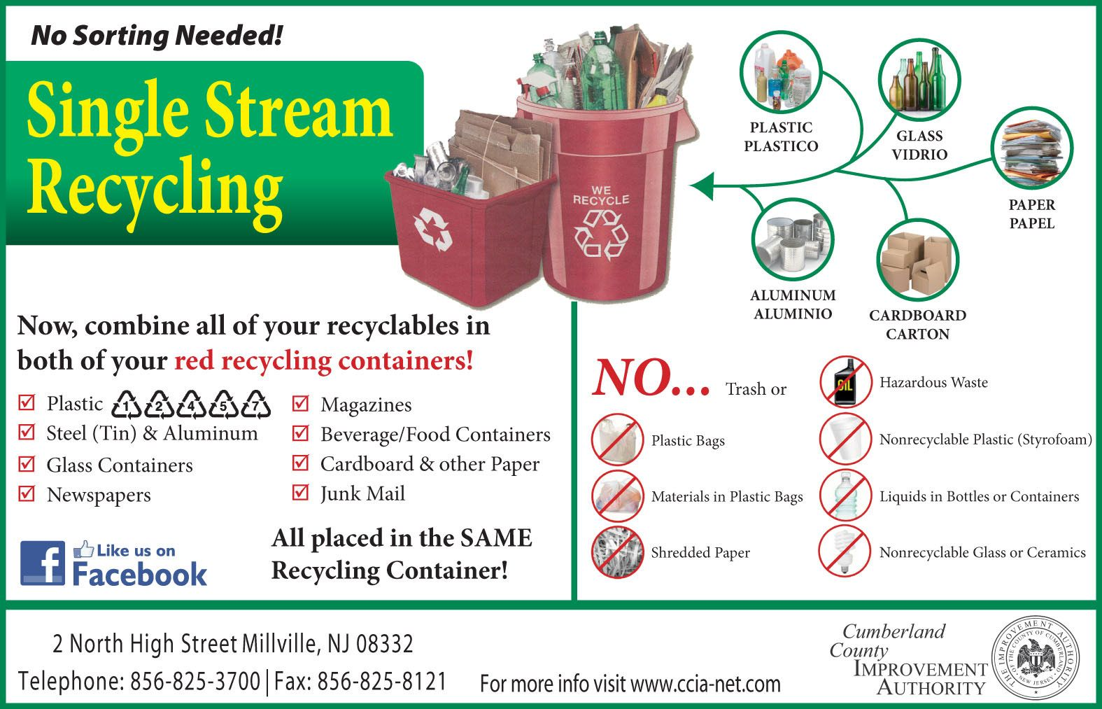 Cumberland County Improvement Authority Single Stream Recycling Recycling Containers Recycled Paper Cardboard Cartons