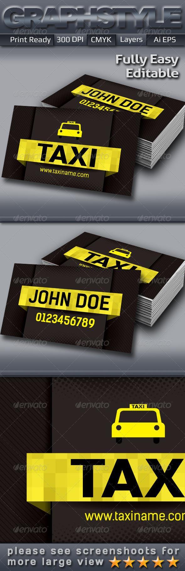 Taxi Business Card Carte De Visite Cartes Sympa Professionnelles