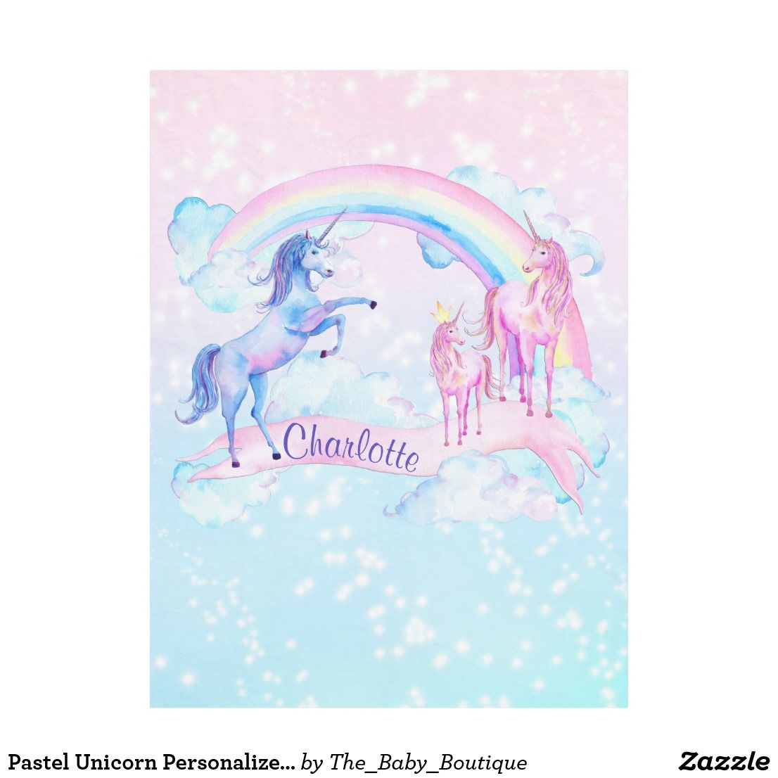 c19dda787c Pastel Unicorn Personalized Fleece Unicorn Blanket - rainbow