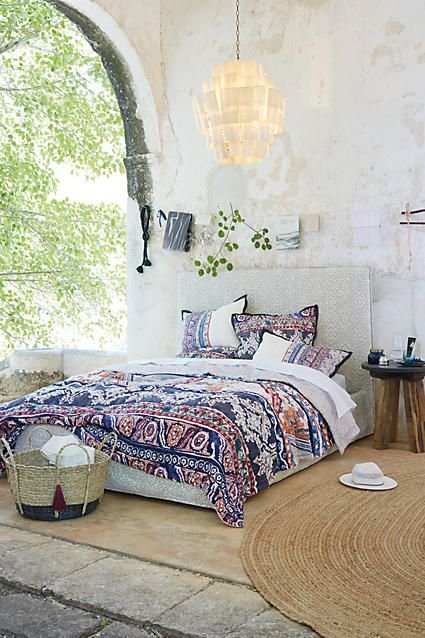 Modern Boho Bedroom Featuring The Anthropologie Risa Quilt