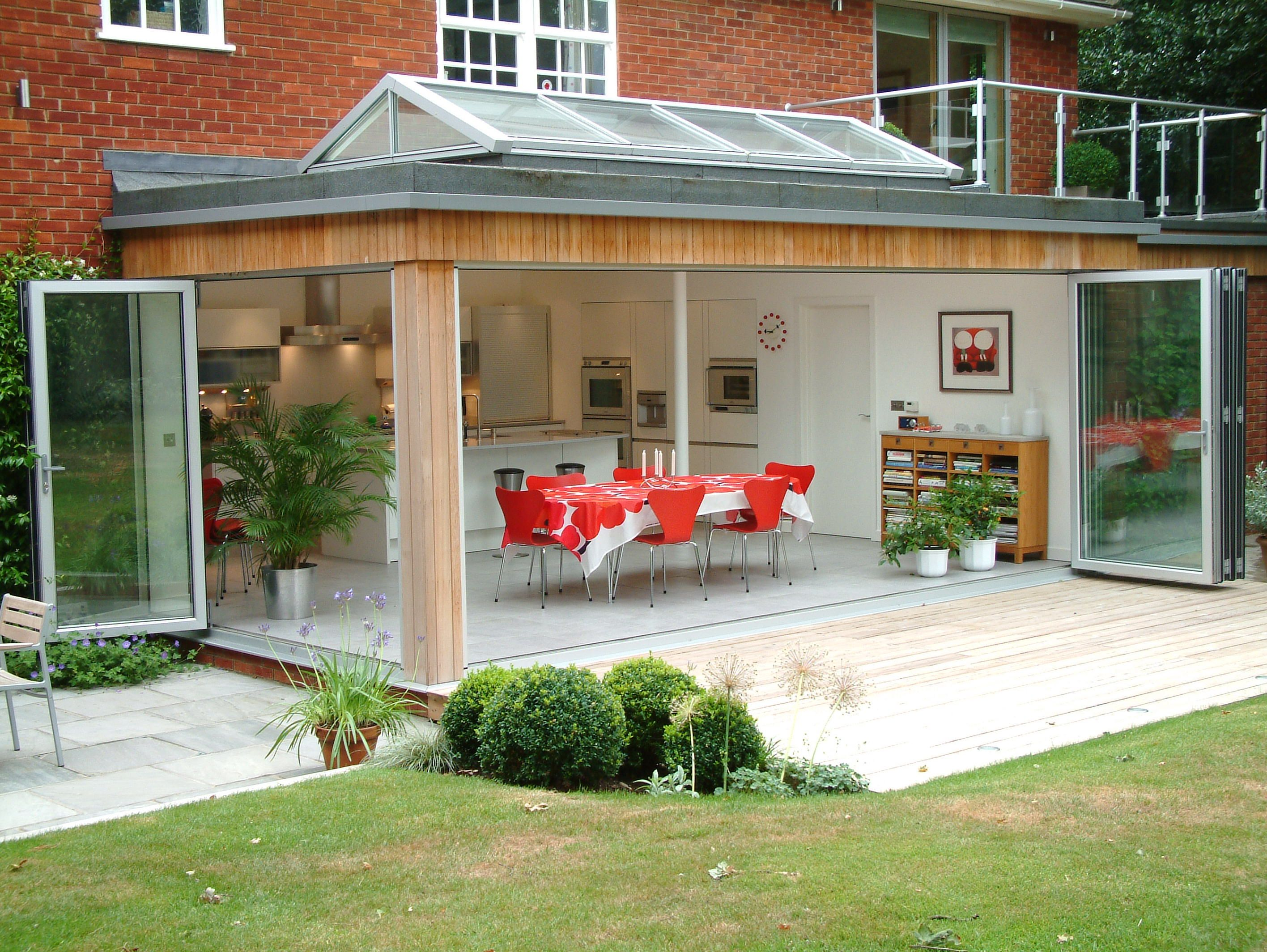 Flat extension roof idea flat roof skylights flat extension roof idea - Www 4seasononline Co Uk Suppliers Of Bespoke Bifold Door Systems Rooflights Kitchen Extensionshouse Extensionsbungalow Extensionsextension Ideasglass