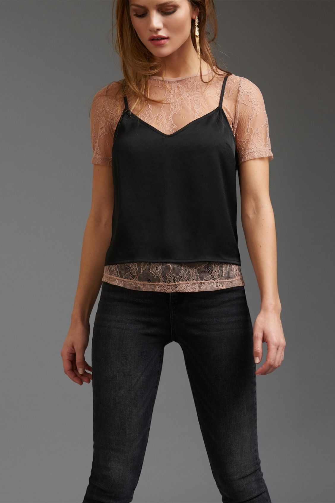 Lace Tee with Cami