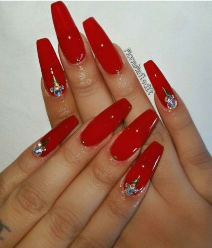 Red Coffin Nails With Gems Red Acrylic Nails Gem Nails Prom Nails Red