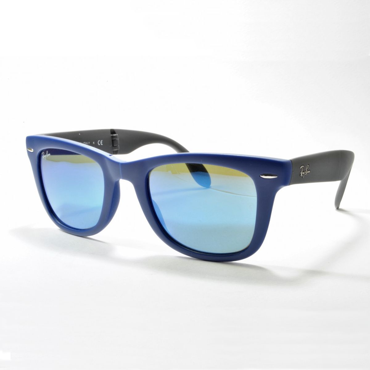 cheap ray ban philippines  ray ban wayfarer folding classic sunglasses 54mm blue frame/blue mirror lens