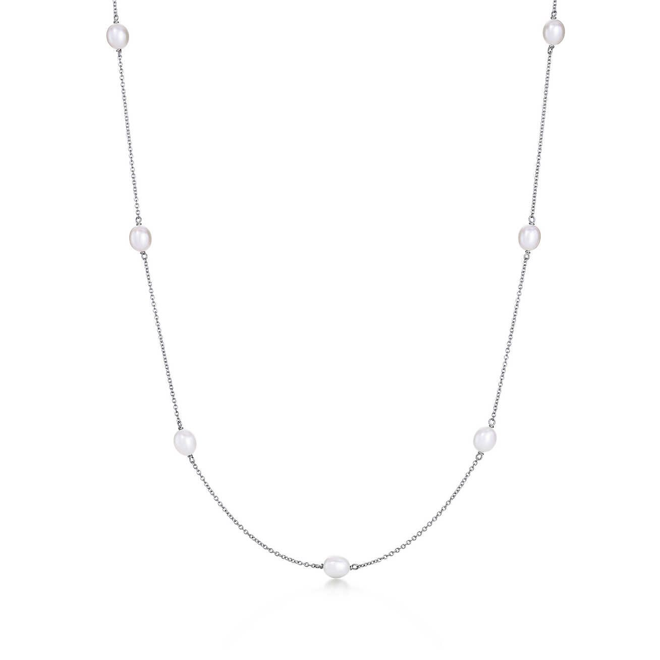 Elsa Peretti Pearls by the Yard sprinkle necklace of cultured pearls in silver - Size Tiffany & Co. ijaGlea4