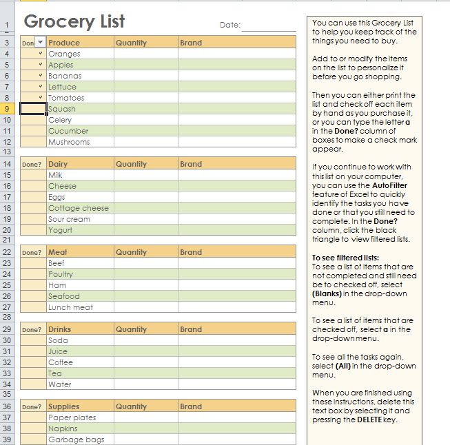 Grocery Shopping List Template For Excel Video how to - grocery list template excel free download