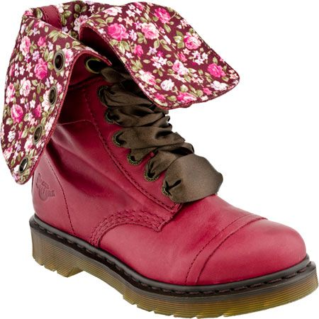 Dr. Martens Triumph 1914 W 14 Eye Women\'s Boot (Cherry Red/Floral ...