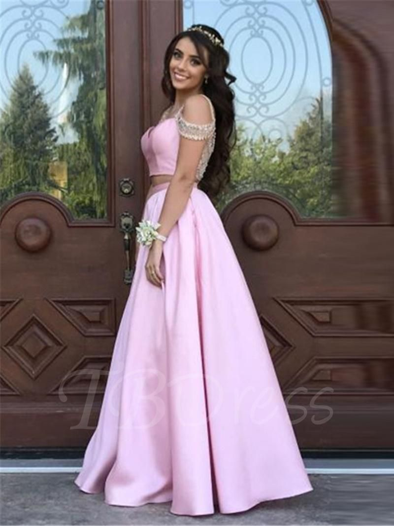 Tbdress tbdress beading aline short sleeves straps prom dress