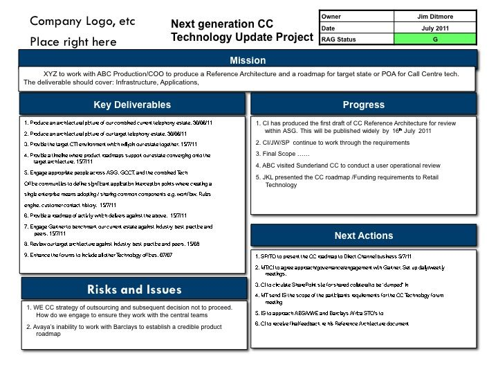 business one pager example four box report examples businss