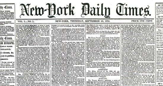 Image result for 1851 – First publication of The New-York Daily Times