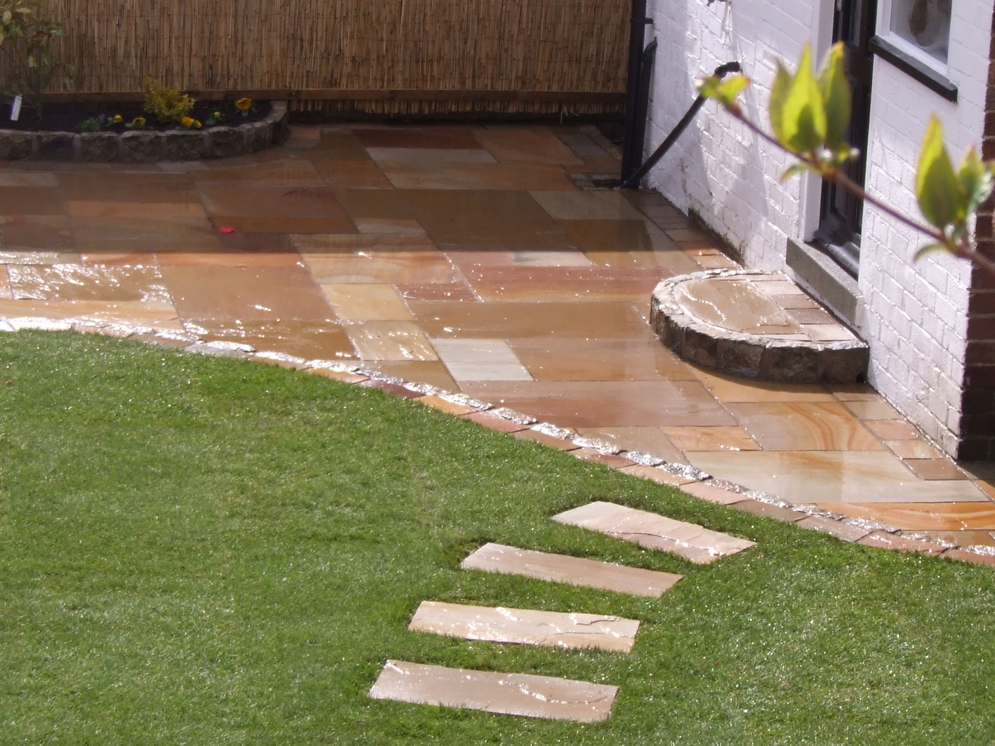 Landscaping Liverpool Another View Of Stepping Stones And Natural Stone Patio Landscaping Liverpool Http W Garden Paving Patio Stones Patio And Garden