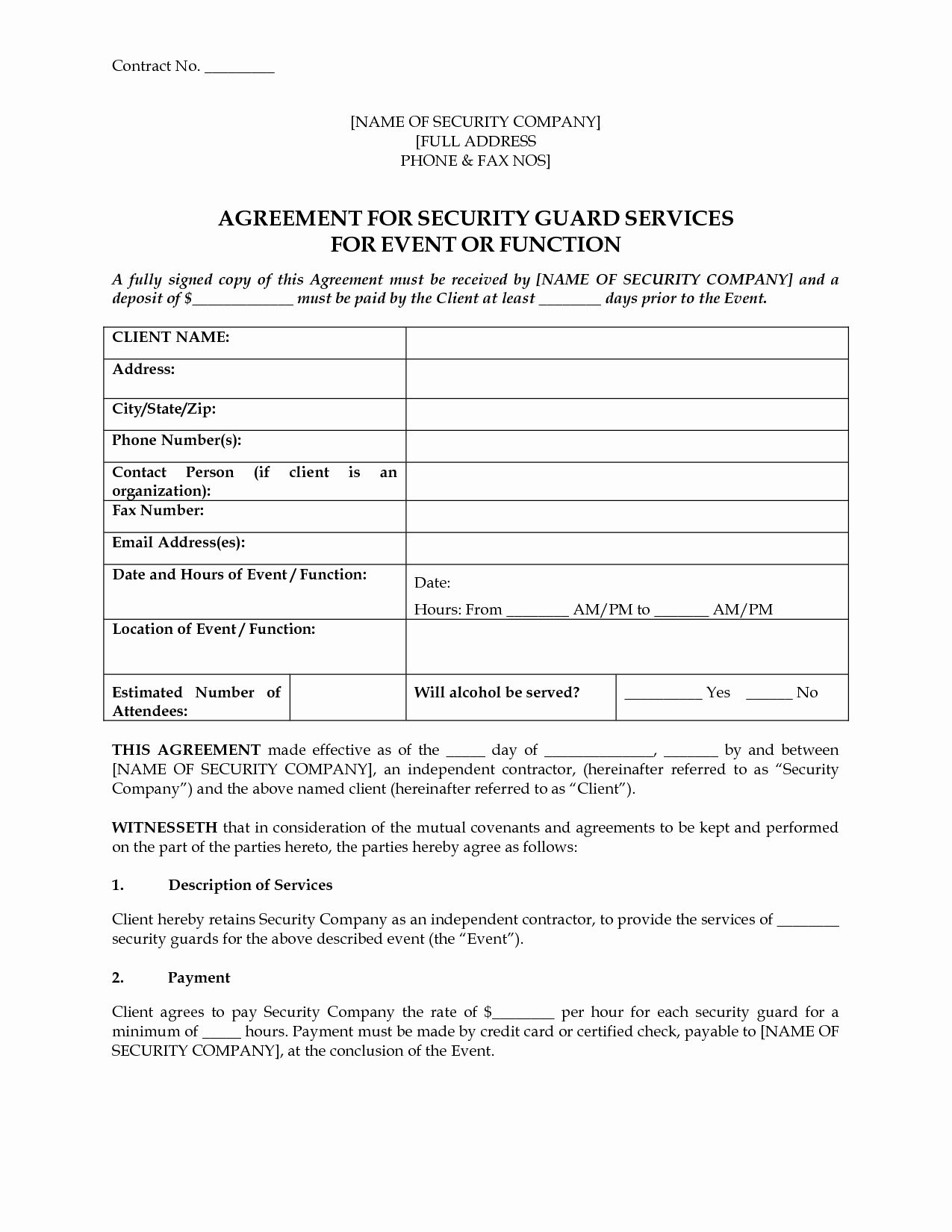 Security Guard Contract Template in 2020 Contract