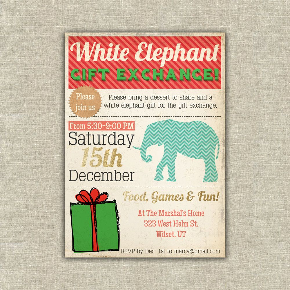 Christmas Invitation White Elephant Gift Exchange Invitation Diy