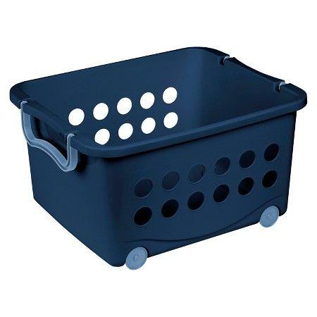 Circo™ Stackable Wheeled Storage Bin   Blue