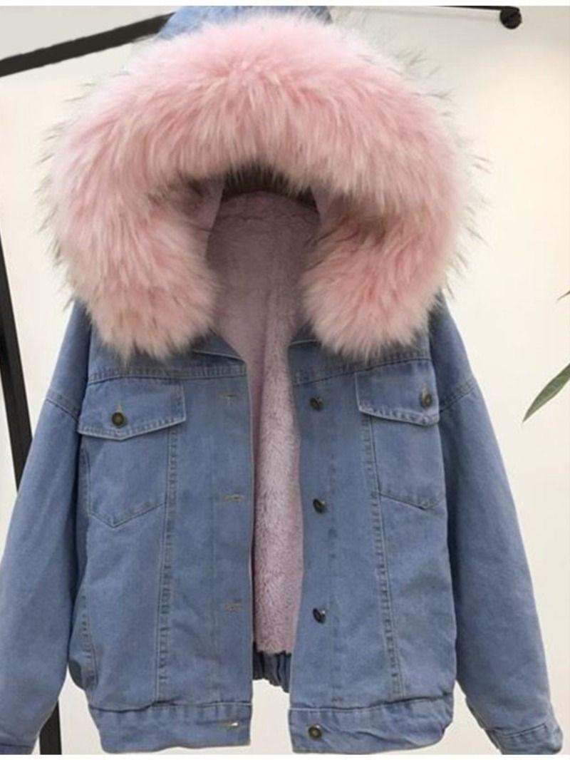 Women S Pink Fur Trim Levi Jacket Just Pink About It Denim Jacket Women Denim Outwear Lined Jeans [ 1066 x 800 Pixel ]