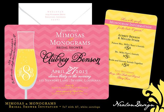 nealon design mimosas monograms bridal shower invitation