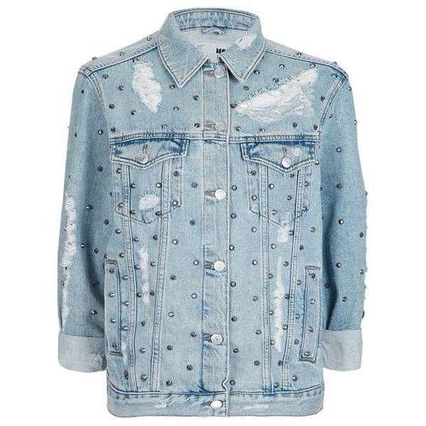Topshop Moto Stud Oversized Jacket 100 Liked On Polyvore Featuring Outerwear Jackets Topshop Blue Jean Ja Oversized Jacket Fashion Studded Denim Jacket