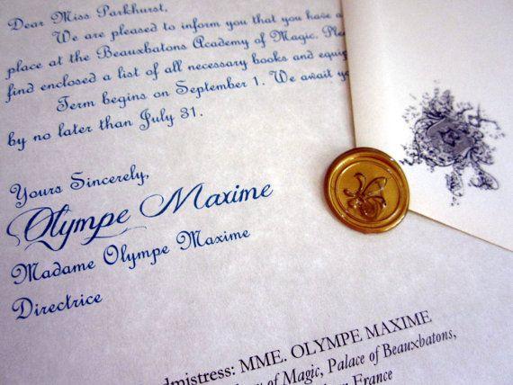 Beauxbatons Acceptance Letter Personalized By Legendaryletters 12 00 Hogwarts Brief Zauberschule Hogwarts