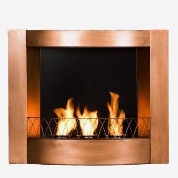 Southern Enterprises Morris Copper Wall Mount Gel Fuel Fireplace