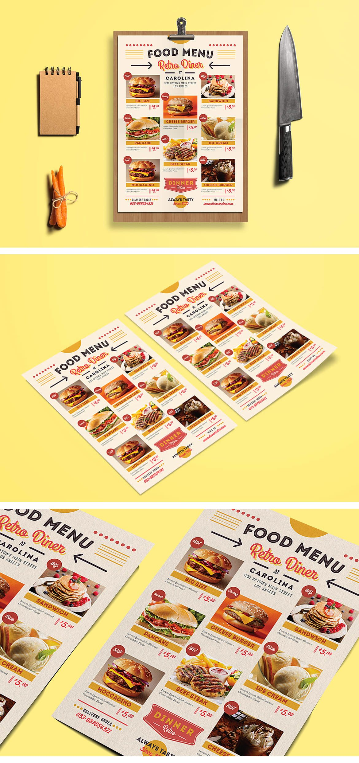 Retro Diner Menu Template AI PSD