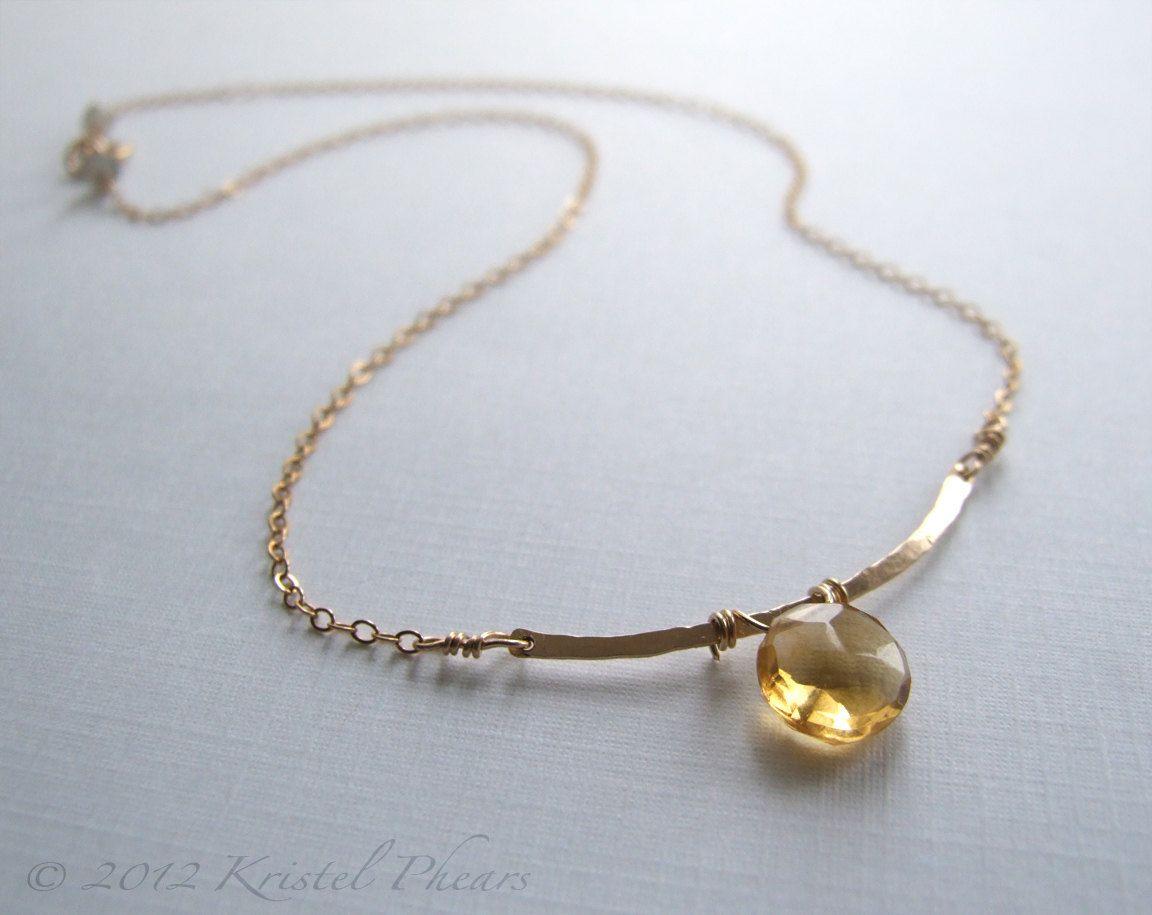 Citrine necklace, Statement Hammered Gold Bar - 14k gold-filled ...