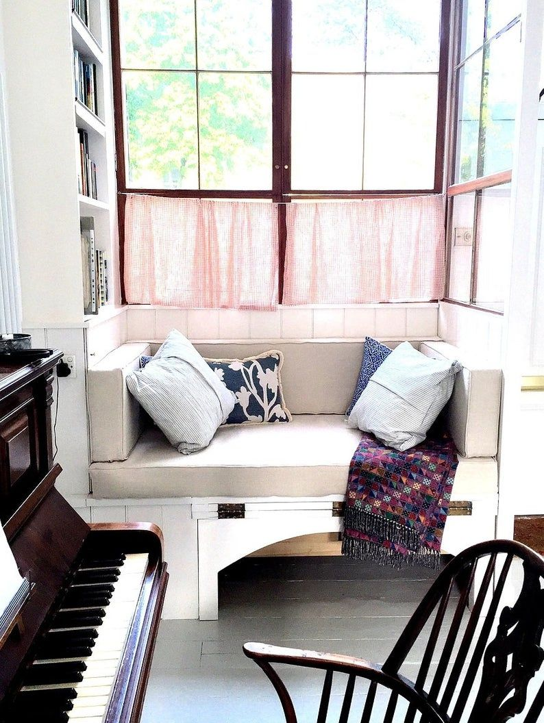 Custom window seat cushion soft linen fabric zipper on