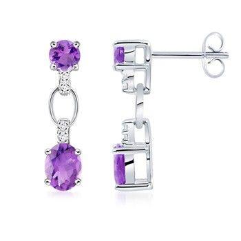 Angara.com: Oval, Round Amethyst and Diamond Earrings #Angara